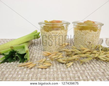 Homemade overnight oats with rhubarb in jars