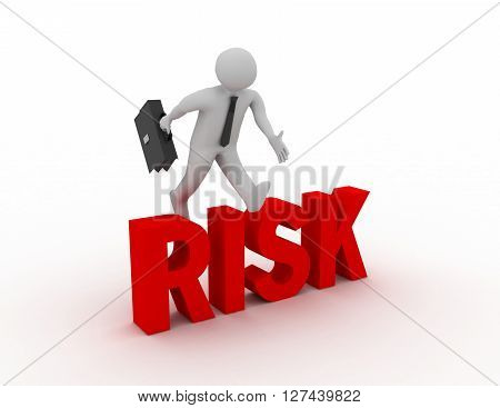3D Businessman Jumping Over 'risk' Word With White Background