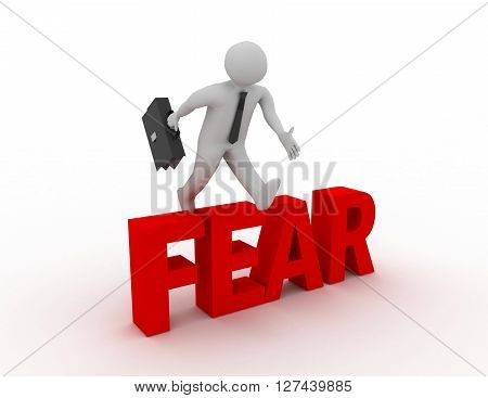 3D Businessman Jumping Over 'fear' Word With White Background