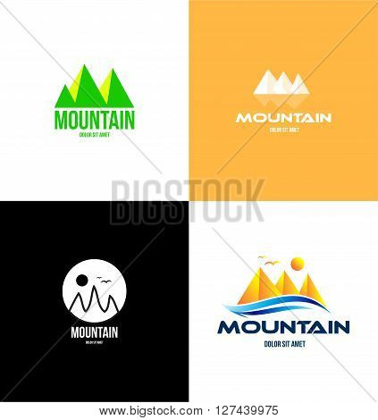 Vector company logo icon element template mountan tourism agency travelling leisure