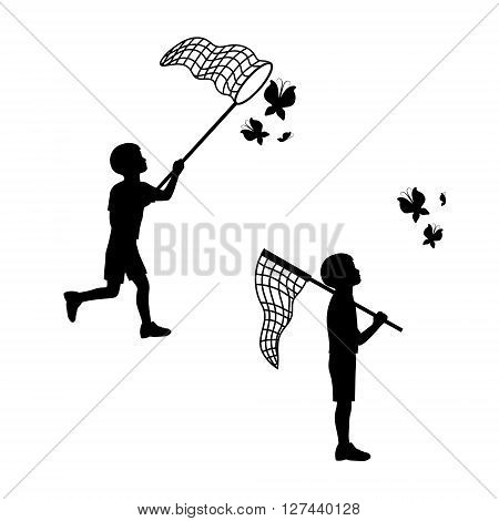 A child plays with a butterfly net. Black silhouettes and icons. The concept of joy, happiness, childhood. Vector illustration.