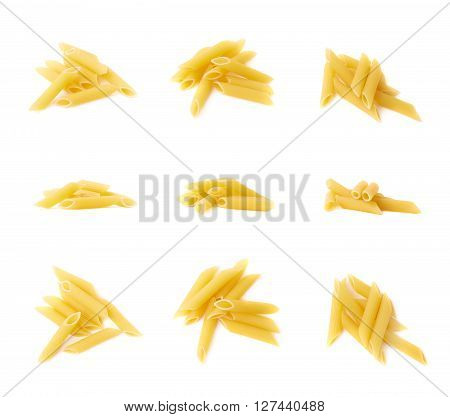 Small pile of dried yellow penne pasta isolated over the white background, set of three different images in three foreshortenings