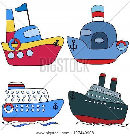 Set steamship passenger childlike drawing EPS8 - vector graphics.