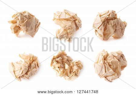 Crumpled ball of brown wrapping paper isolated over the white background, set of six different images