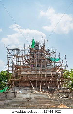 Building Buddha Statue in Thailand. construction, buddhism