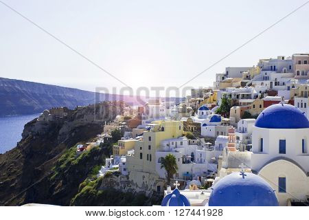 Beautiful landscape with the famous blue domes of Santorini