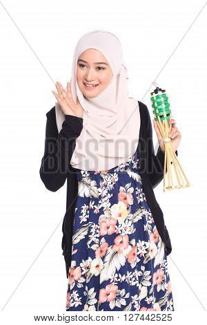 Asian Malay Woman Posing With Muslim Attire