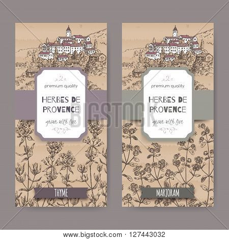 Two Herbes de Provence labels with Provence town landscape, thyme and marjoram sketch. Culinary herbs collection. Great for cooking, medical, gardening design.