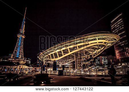 NAGOYA JAPAN - January 22: Oasis 21 in Nagoya Japan on January 22 2016. A shopping complex nearby Nagoya Tower its large oval glass roof structure floats above ground level