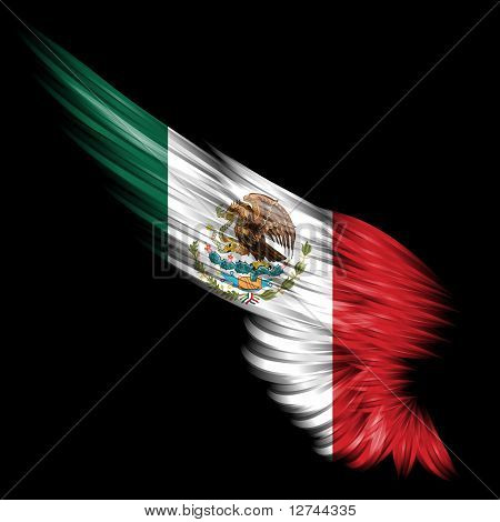 Abstract Wing With Mexico Flag On Black Background