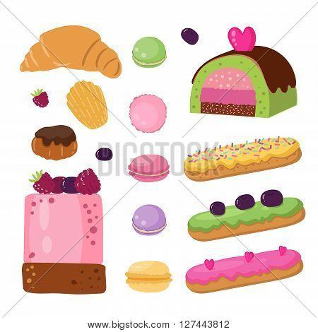 Set of illustrations French desserts. Eclair, madeleines, macaroon, pastry, roll, profiteroles, croissant. Vector illusration. Dessert for design kids menu, restaurant menus, cafe menu