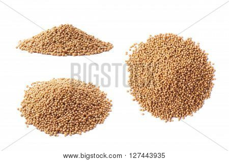 Pile of brown mustard seeds isolated over the white background, set of three different foreshortenings