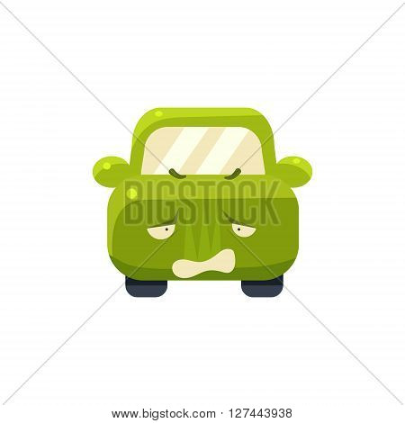 Disappointed Green Car Emoji Cute Childish Style Character Flat Isolated Vector Icon