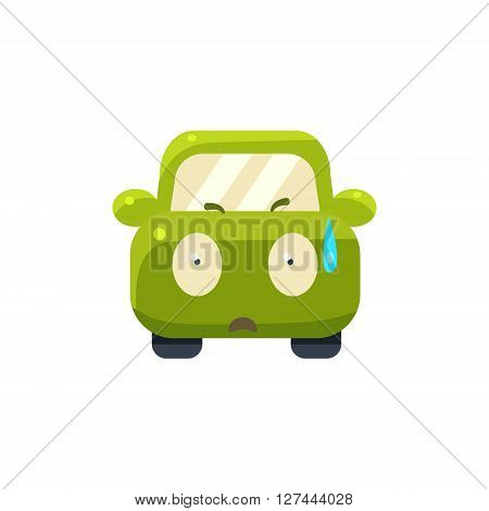 Cold Sweat Green Car Emoji Cute Childish Style Character Flat Isolated Vector Icon