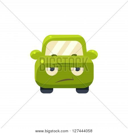 Sceptic Green Car Emoji Cute Childish Style Character Flat Isolated Vector Icon