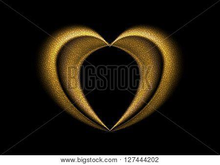 Smooth blurred golden heart background. Valentine Day vector design
