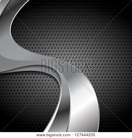 Abstract perforated metal texture with silver color waves. Vector template graphic design