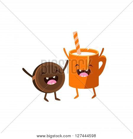 Milk And Cookie Cartoon Friends Colorful Funny Flat Vector Isolated Illustration On White Background