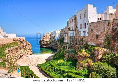Panoramic view of Polignano. Puglia. Southern Italy.