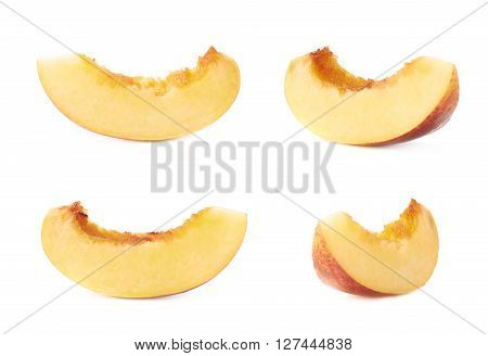 Slice of a nectarine fruit flesh isolated over the white background, set of four different foreshortenings