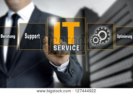 It Service Optimierung Beratung (in German Optimize Support) Help Touchscreen Is Operated By Busines