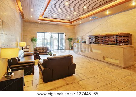reception desk and lobby in modern gym
