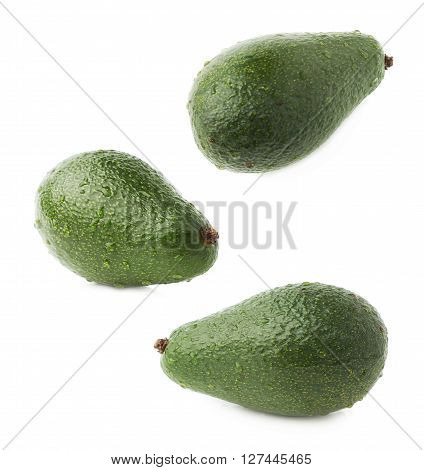 Single ripe green avocado fruit covered with water drops, isolated over the white background, set of three different foreshortenings
