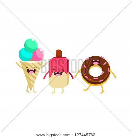 Ice-cream And Doughnut Cartoon Friends Colorful Funny Flat Vector Isolated Illustration On White Background