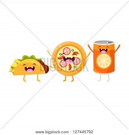 Tco, Pizza And Soda Cartoon Friends Colorful Funny Flat Vector Isolated Illustration On White Background