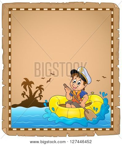 Parchment with small sailor - eps10 vector illustration.