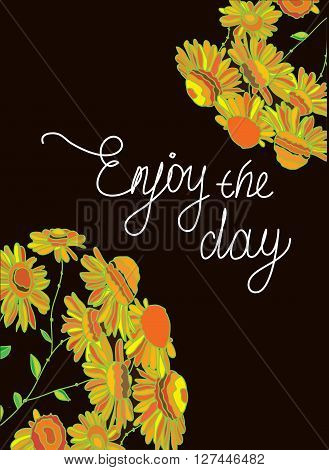 colorful vector background with tsvetami a bobble yellow on a brown background and the words happy day,