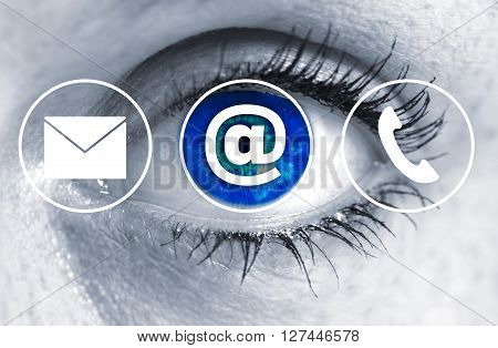 Contact Options Eye Looks At Viewer Concept