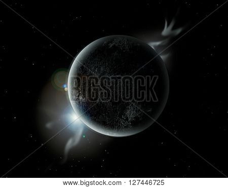 Black Planet In The Universe With Aura And Stars
