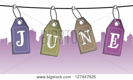 Abstract colorful background with four tags hanging on a wire and the text June written on the tags