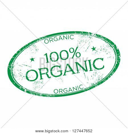 Green grunge rubber oval stamp with the text one hundred percent organic written on the stamp