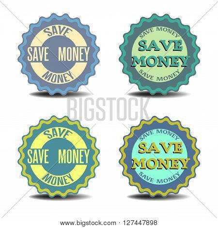 Four isolated stickers with the text save money written on each sticker
