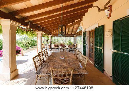 The veranda of the Spanish home nearby the Mediterranean Sea Mallorca