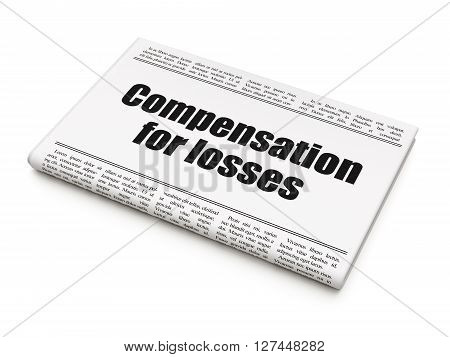 Money concept: newspaper headline Compensation For losses on White background, 3D rendering