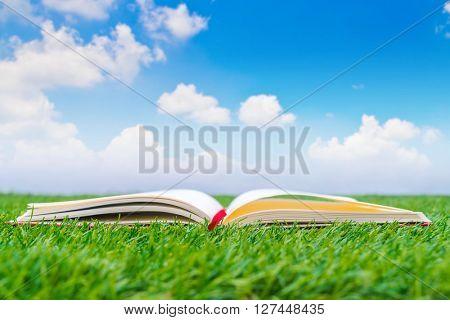 Notebook on spring green grass
