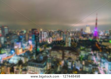 Abstract blur Aerial view bokeh lights, Tokyo city, Japan