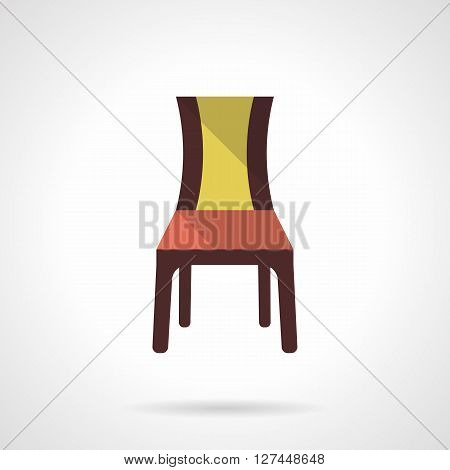A front view brown chair with red yellow elements. Furniture for restaurant, cafe, hotels interior. Flat color style vector icon. Web design element for site, mobile and business.