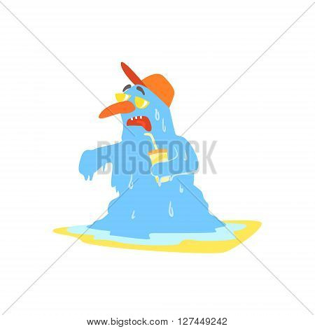 Melting Monster On The Beach Childish Funny Flat Vector Illustration Isolated On White Background