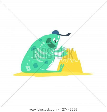 Building Sand Castle Monster On The Beach Childish Funny Flat Vector Illustration Isolated On White Background