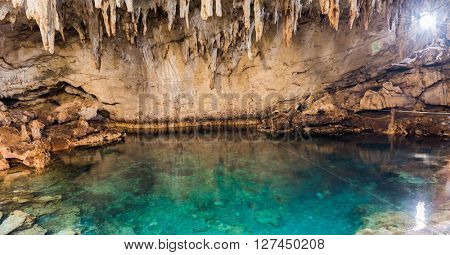 Famous Hinagdanan cave in Panglao island Bohol of the Philippines