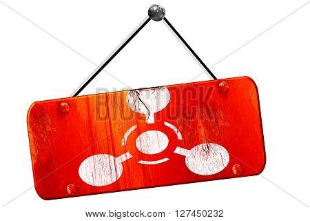 Chemical weapon sign on a grunge background with some scratches, 3D rendering, red grunge vintage sign