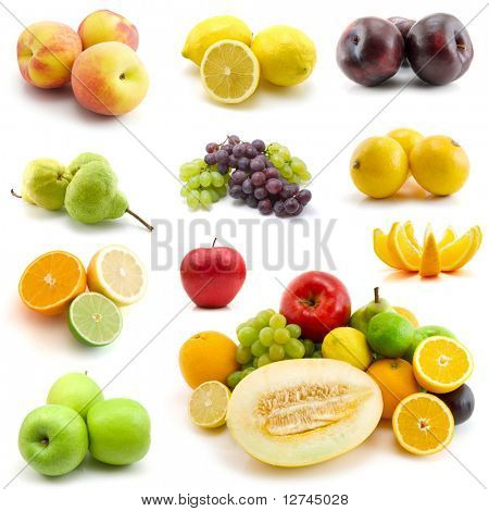 page of fruits isolated on white background