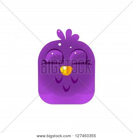 Purple Sleeping Chick Square Icon Colorful Bright Childish Cartoon Style Icon Flat Vector Design Isolated On White Background