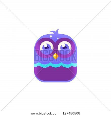 Giggling Blue Chick Square Icon Colorful Bright Childish Cartoon Style Icon Flat Vector Design Isolated On White Background