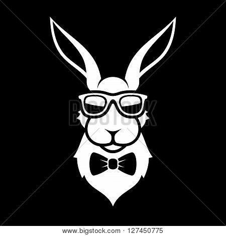 Fashion Portrait of Hipster Bunny. Rabbit in Glasses and Bow Tie Logo Sign. Vector illustration