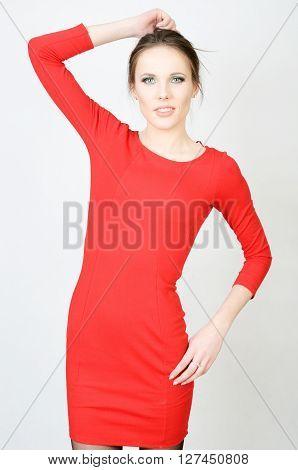 Blond Female In Red Dress
